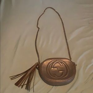 Gucci Disco Soho Gold Leather Cross Body Bag